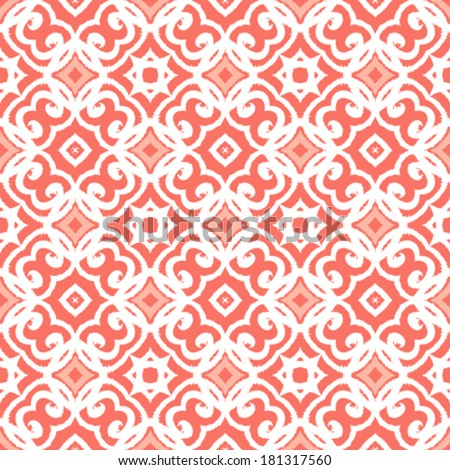 Vector geometric art deco pattern with lacing shapes in coral pink and white.  - stock vector
