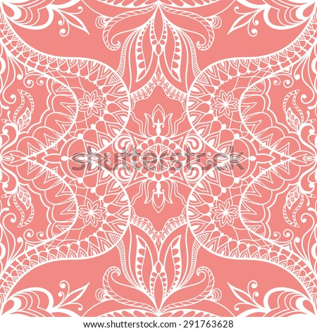 Vector geometric background seamless pattern. Tribal ethnic ornament. Islamic arabic indian motif, lace fabric repeating texture - stock vector