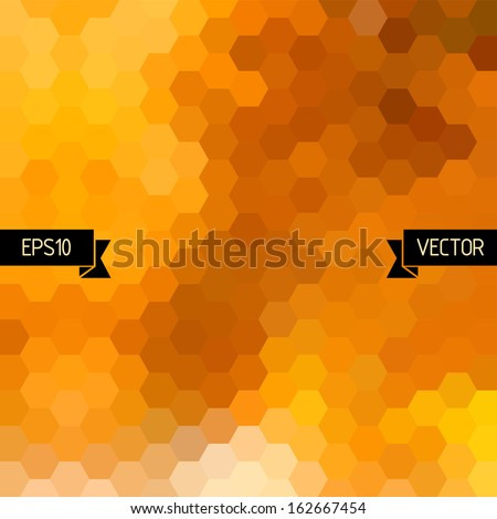 Vector geometric background with colorful hexagons. Orange honey combs pattern - stock vector