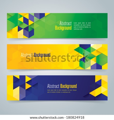 Vector geometric banner in Brazil flag concept. Can be used in cover design, website background or advertising.  - stock vector