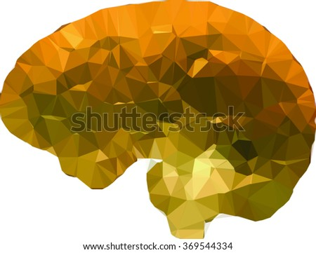 vector geometric brain made of golden triangles