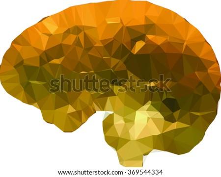 vector geometric brain made of golden triangles - stock vector