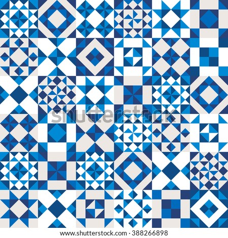 Vector geometric ceramic texture made of blue, navy and white pieces. Portugal style seamless pattern. - stock vector