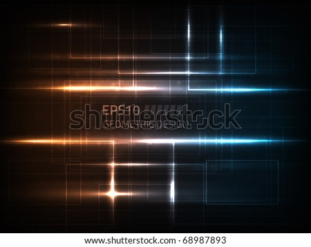 Vector geometric design against dark background with bright lights and particles