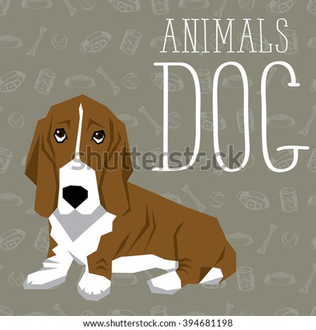 Vector geometric dogs collection with seamless background. Basset Hound - stock vector