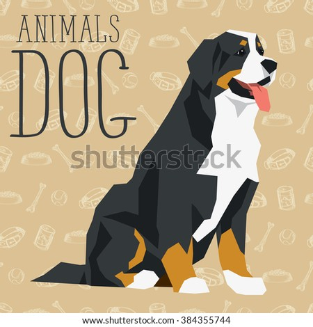 Vector geometric dogs collection with seamless background. Bernese mountain dog - stock vector