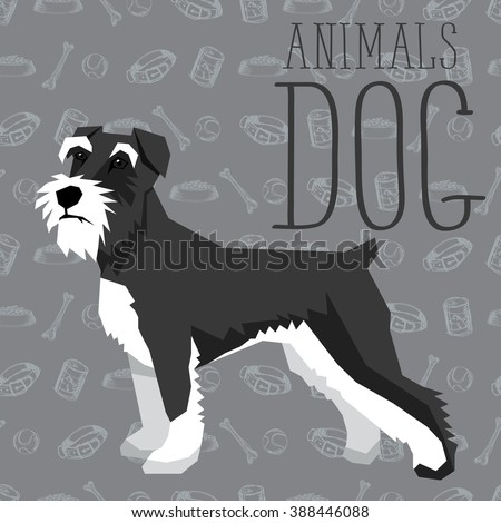 Vector geometric dogs collection with seamless background. Miniature Schnauzer - stock vector
