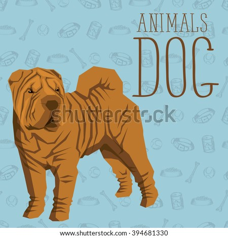 Vector geometric dogs collection with seamless background. Shar Pei - stock vector