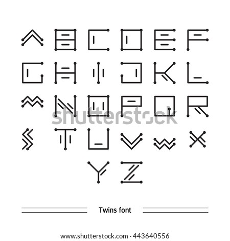Vector Geometric Font Simple Alphabet Modern Stock 443640556