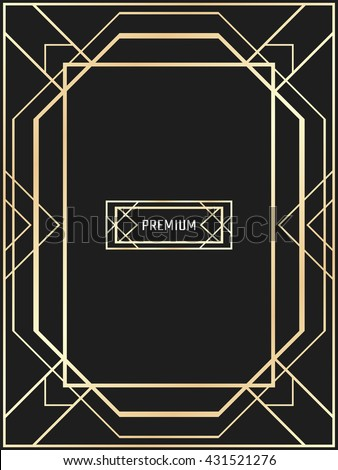 vector geometric frame art deco style stock vector
