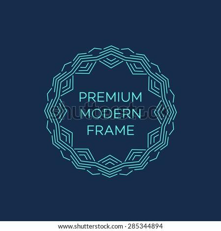 Vector geometric frame in mono line style. Monogram design element. Vector illustration EPS 10 - stock vector