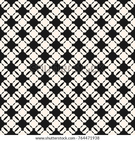 Vector geometric monochrome seamless pattern. Black and white ornamental texture with round shapes, grid, lattice, mesh. Abstract ornament background, repeat tiles. Delicate design for decor, textile