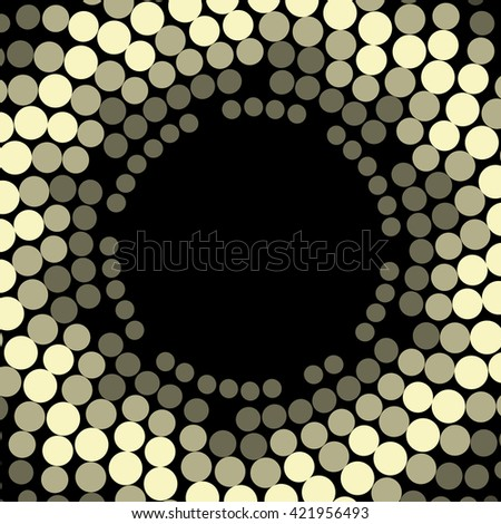 Vector geometric pattern. Modern texture wreath in golden color. Frame of simple dotted design. Abstract background on the book cover, brochure, flyer or website.