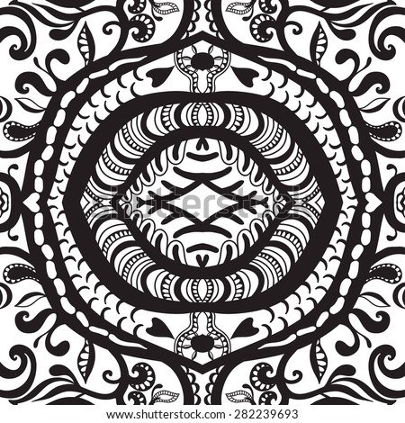 Vector geometric pattern with seamless texture. Tribal ethnic ornament. Black and white.