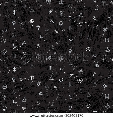 Vector geometric pattern with small alchemy symbols, shapes and planets logos. Abstract occult and mystic signs hand drawn in chalk. Tarot cards back design. Magic print and astrology background - stock vector