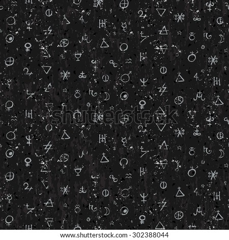 Vector geometric pattern with small alchemy symbols, shapes, planets logos. White abstract occult and mystic signs on black textured background. Tarot cards back design. Magic  and astrology print - stock vector