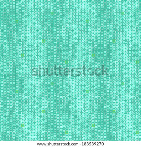 Vector geometric pattern with small hand drawn squares placed in rows and lines in bright colors: aqua blue, green and white - stock vector