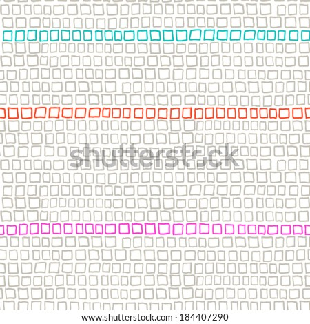 Vector geometric pattern with small hand drawn squares placed in rows in bright orange, blue and grey colors - stock vector