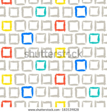 Vector geometric pattern with small hand painted squares placed colored randomly in bright red, yellow, blue and grey - stock vector