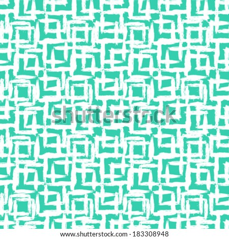 Vector geometric pattern with small hand painted squares placed in rows in bright aqua green white  - stock vector