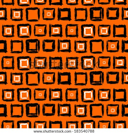 Vector geometric pattern with small hand painted squares placed in rows in bright multiple colors: orange, white and black - stock vector