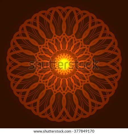 Vector geometric round orange glow mandala. Element for any other kind of yoga, india, arabic design, websites and other holiday. - stock vector