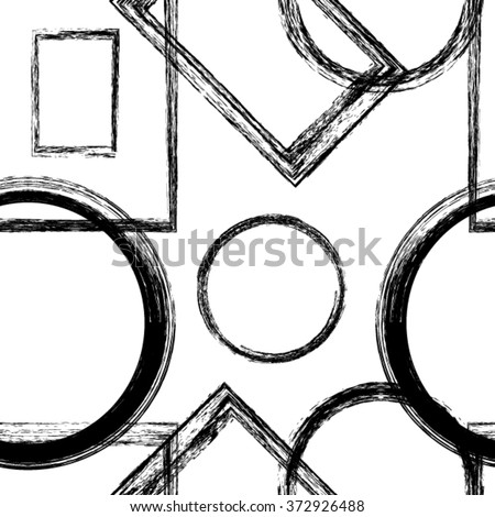 Vector Geometric Seamless Pattern . Abstract wallpaper with grunge shapes. - stock vector