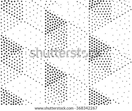 Vector geometric seamless pattern. Repeating abstract triangles gradation in black and white. Modern halftone triangle design, pointillism