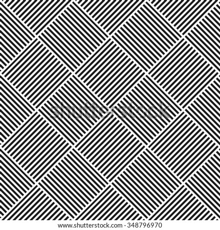 Vector geometric striped pattern - seamless. Black and white texture.