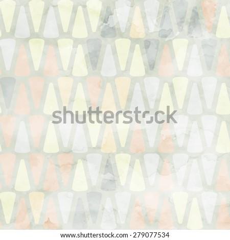 Vector geometric watercolor seamless pattern - stock vector