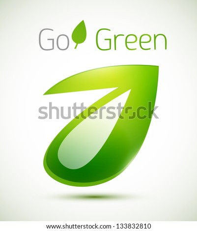 Vector geometrical 3d green leaf nature concept