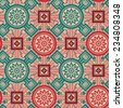 Vector Geometrical Ornament With Flowers. Vintage seamless pattern - stock vector