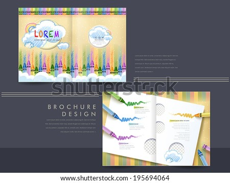 vector geometry brochure design with graffiti and crayons - stock vector
