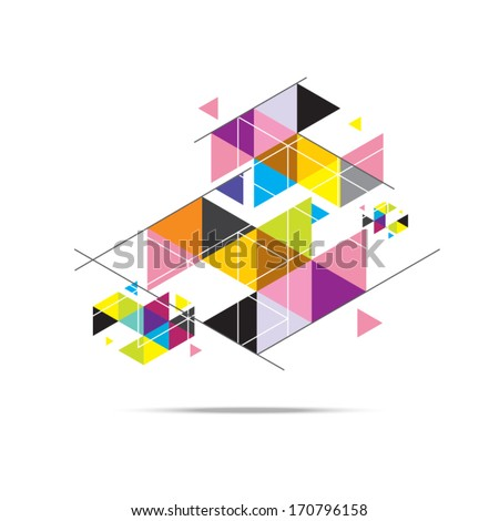 vector geometry triangle pattern background design - stock vector