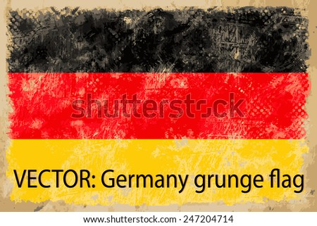 VECTOR: Germany grunge flag on the vintage paper using for background - stock vector