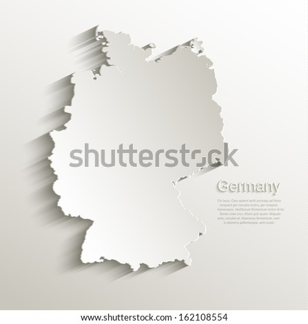 vector Germany map card paper 3D natural  - stock vector