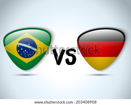 Vector - Germany versus Brazil Flag Soccer Game - stock vector