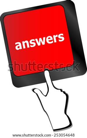 vector get answers concept on the modern keyboard keys - stock vector