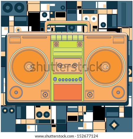 vector ghetto blaster with background - stock vector