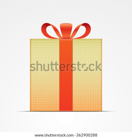 Vector gift box. Golden gift box, with red ribbon. Realistic illustration.