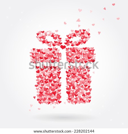 Vector gift box made from red hearts, Illustration eps10. - stock vector