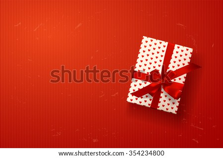 vector gift box on background. Color gift box with hearts, bows and ribbons. valentine`s card  - stock vector