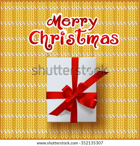 vector gift box on knitted background
