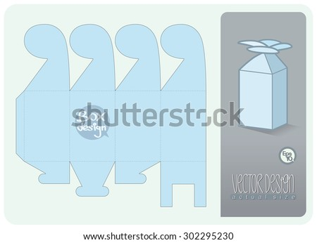 Vector Gift Box paper die cut (actual size)  - stock vector