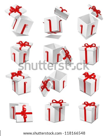 vector gift box set - stock vector