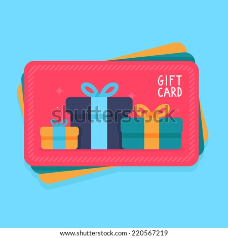 Vector gift card flat style shopping 220567219 vector gift card in flat style shopping certificate with present icons negle Images