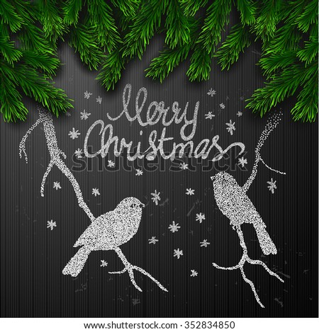 Vector gift card with birds  background Christmas Greeting Card. Merry Christmas - stock vector