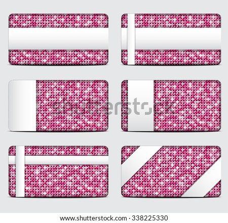 Vector gift cards with abstract mosaic pink sequins background. - stock vector