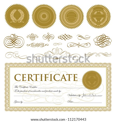 Vector Gift Certificate and Seal Set. Easy to edit.