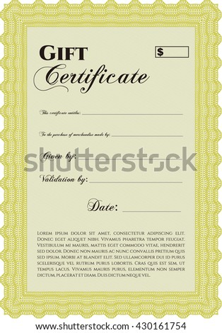 Vector Gift Certificate. Customizable, Easy to edit and change colors. Excellent design. With complex background.  - stock vector